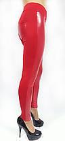 Брючные лосины модель №136, красные, комбинация кожа и дайвинг, фото 2