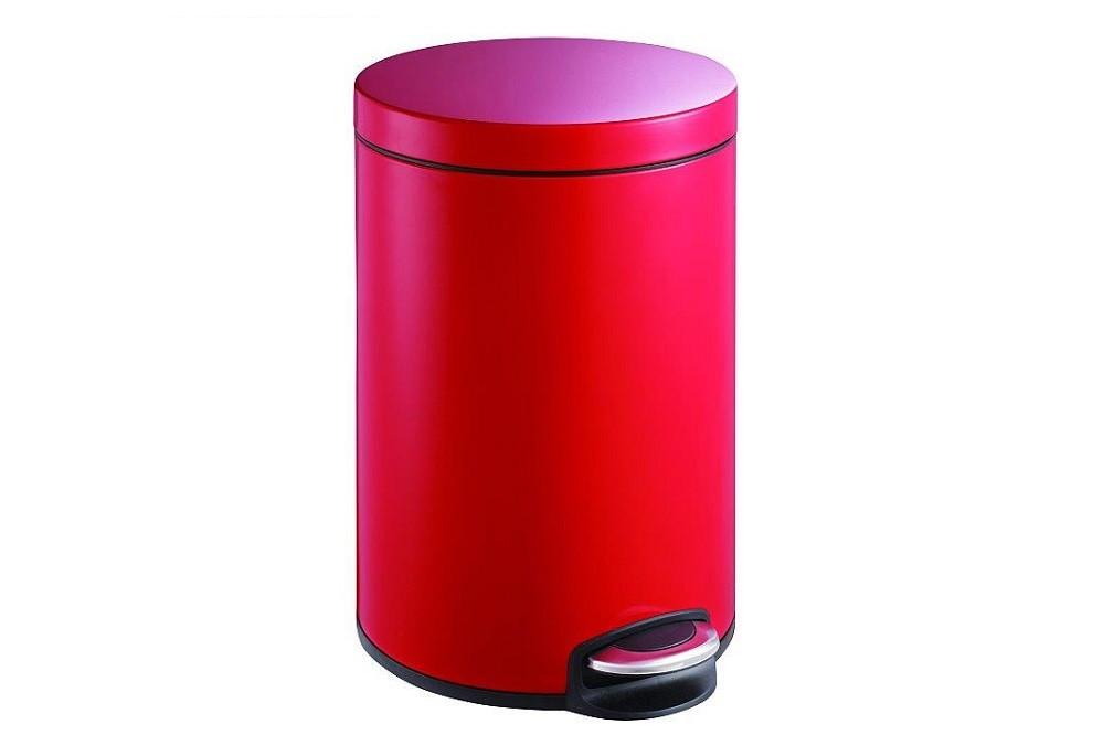 Відро для сміття кругле червоного кольору