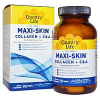 Коллаген Maxi-Skin с витаминами С и А 90 таб для омоложения и упругости кожи Country Life