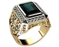 Большой мужской золотой перстень 585* пробы с Октагоном