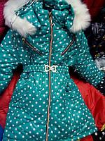 Куртка зимова для дівчинки з принтом горох