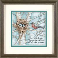 """Набор для вышивания крестом """"Гнездо синички//Robin's Nest"""" DIMENSIONS"""