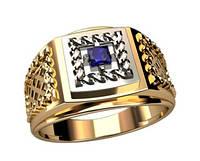 Узорчатое мужское золотое кольцо 585* пробы с камнем