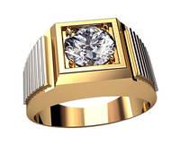 Мужское золотое кольцо 585* пробы с камнем и боковым рифлением