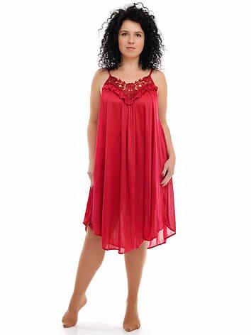 Бордовая ночная рубашка на бретельке, фото 2
