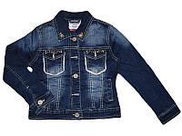 Джинсовая куртка  (утепленная)  для девочек, размеры 116,116,122,122,128,128,140, Grace, арт.41416