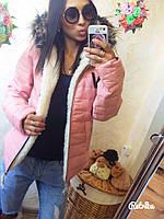 Стильная женская курточка на меху ( натуральный барашек)с капюшоном