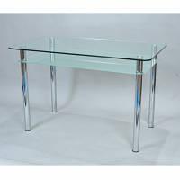 Стол обеденный хром/стекло Кристалл с полкой Sentenzo