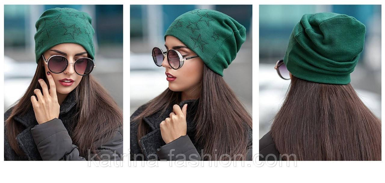 Женская модная шапка из ангоры со звездами (4 цвета)