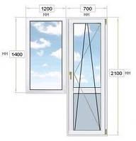 Балконный блок: дверь 700х2100, окно 1200х1400, Rehau Geneo.