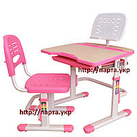 Парта и стул, подставка для книг, ящик, розовая