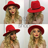 Шляпа фетровая женская классическая федора разные цвета SHc16