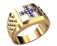 Мужская золотая печатка 585* пробы с крестом из циркония