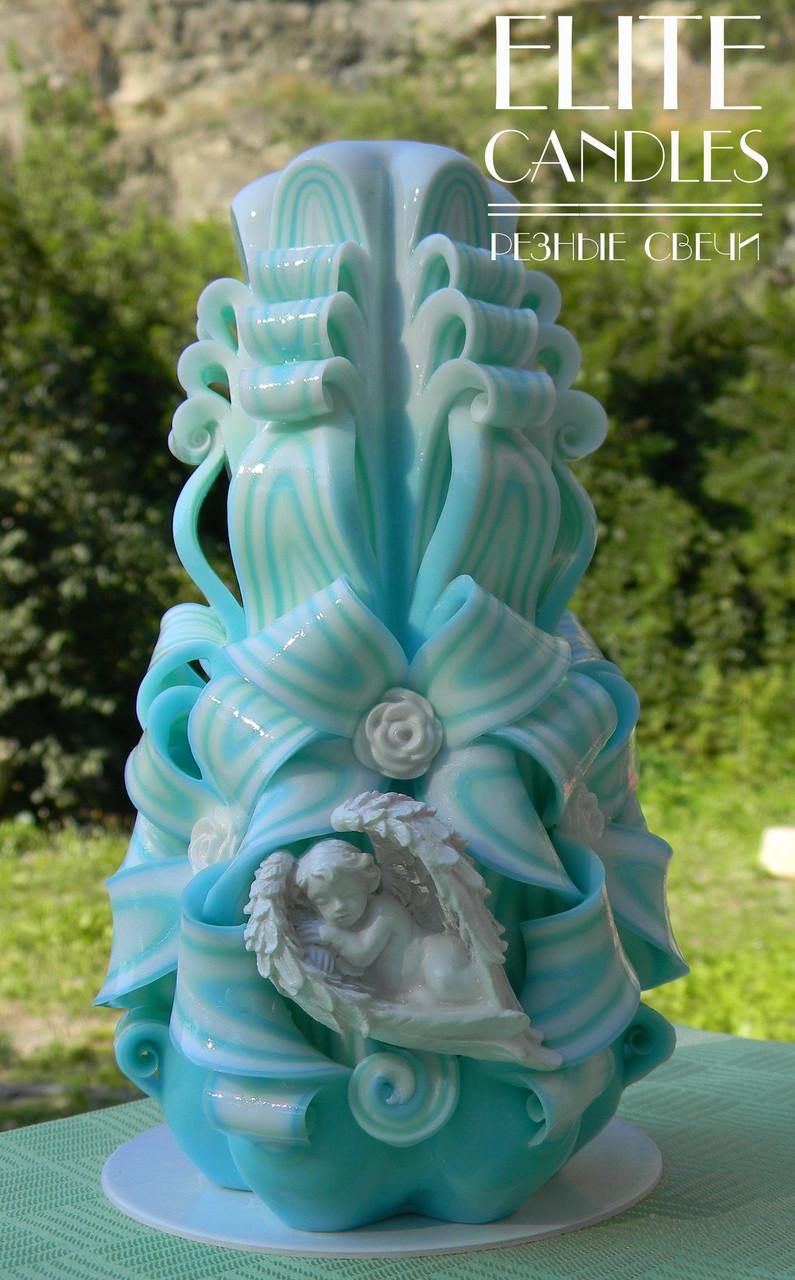 Резная свеча №3010 (Голубой) 17 см высотой