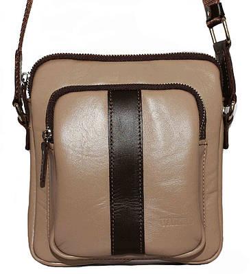 Кожаная мужская сумочка Mk48 бежевая гладкая