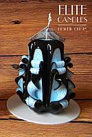 Резная свеча №3013 (Черно-голубая) 9 см высотой