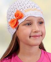 Головной убор для девочек Белый с красным бантиком 50-54 см Осень 3-001534 Tutu Польша