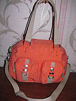 Персиковая тканевая сумка Woman