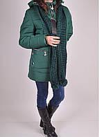 Куртка женская из плащевки зимняя с шарфом (цвет зеленый) Nolvit Размеры в наличии : 48,50,52,54,56,58,60,62 а