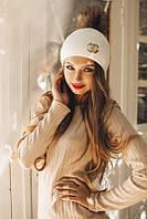 Стильная вязаная женская шапка с брошью и помпоном из меха шерсть акрил