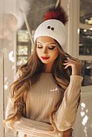 Ультрамодная вязаная женская шапка с брошью и помпоном из меха шерсть акрил