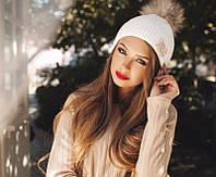 Модная вязаная женская шапка с брошью и помпоном из меха шерсть акрил