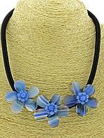 Бусы из агата с голубыми цветами