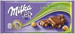 Молочный шоколад Milka ganze hazelnut 0.100 гр