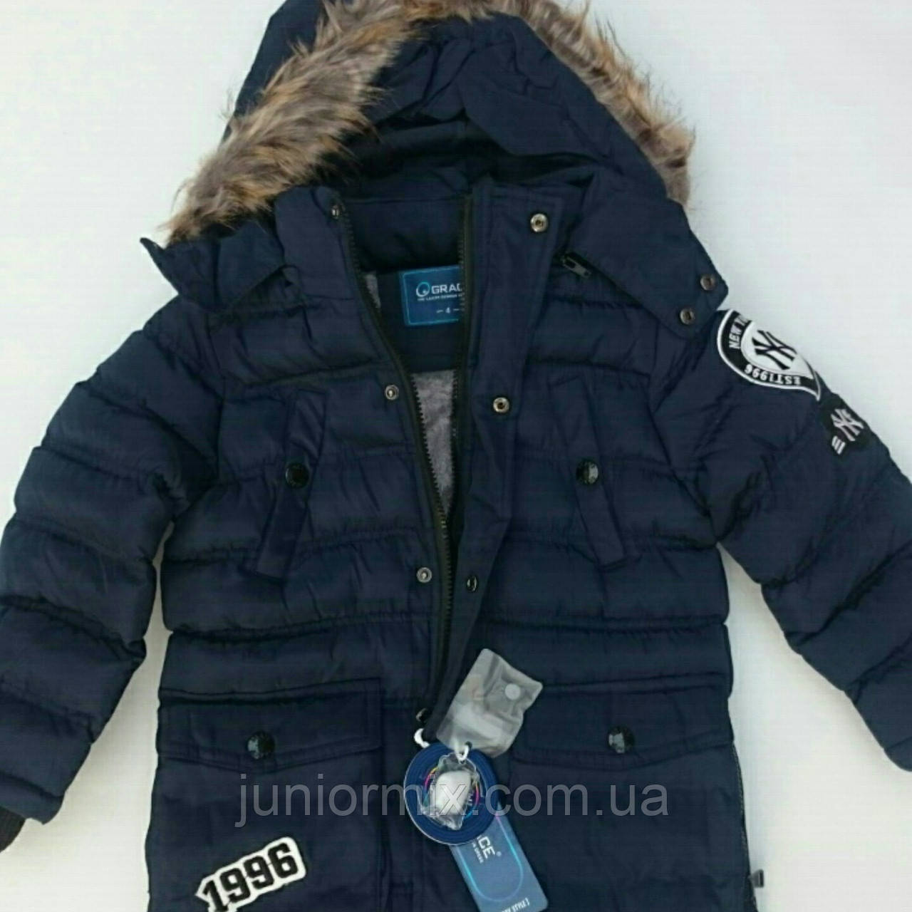 """Куртка зимова на хлопчика GRACE з нашивкою """"1996"""""""