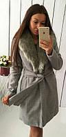 Кашемировое женское пальто приталенного фасона под пояс с меховой отделкой кашемир на синтепоновой подкладке