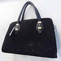 Чёрная сумка  с мелкими камнями на замше