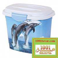 Емкость для стирального порошка Еlif (Элиф), с рисунком Дельфины
