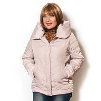 """Куртка  женская большого размера, стеганная, капюшон с эффектом """"под воротник""""."""
