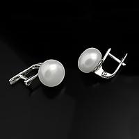 Жемчуг белый Ø11, серебро, серьги, фото 1