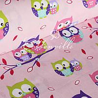 Детская ткань Совушки на розовом, фото 1