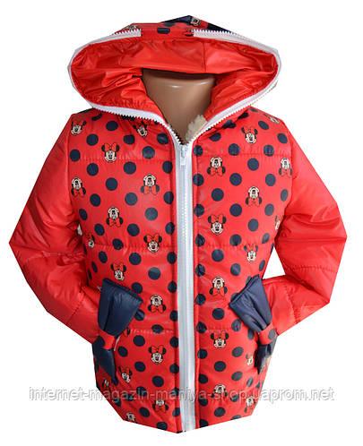 Куртка детская на девочку мех мики горох