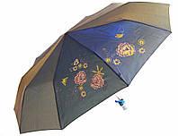 Зонт антишторм полуавтомат Цветы Хамелеон черный