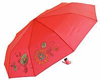 Зонт антишторм полуавтомат Цветы Хамелеон красный
