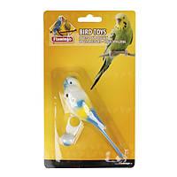 Игрушка для попугайчиков из пластика Karlie-Flamingo parakeet on ring попугайчик на кольце, 14 см