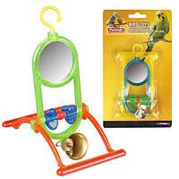 Іграшка для птахів Karlie-Flamingo mirrow+bell, дзеркальце з дзвоником і жердочкой, 12*7*16,5 см