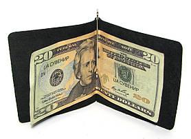 Кожаный кошелек Зажим для денег натуральная кожа Черный