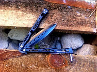 """Складной балисонг (нож-бабочка) """"Блэк"""" с острым лезвием - идеальный подарок для парня, фото 1"""