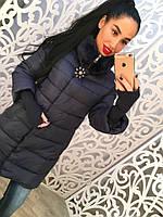 Теплое удлиненное женское пальто, рукава 3/4 и вязка. Мех на воротнике. Цвет темно синий