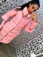 Теплое удлиненное женское пальто, рукава 3/4 и вязка. Мех на воротнике. Цвет розовый