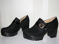 Женские замшевые туфли на тракторном каблуке 36-41