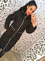 Теплое удлиненное женское пальто на молнии внутри синтепон, с капюшоном, черное