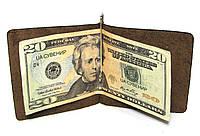 Кожаный кошелек Зажим для денег Коричневый