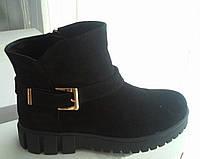 Ботинки женские стильные натуральная замша черные