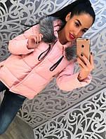 Теплая женская куртка на синтепоне со съемным мехом, розовая