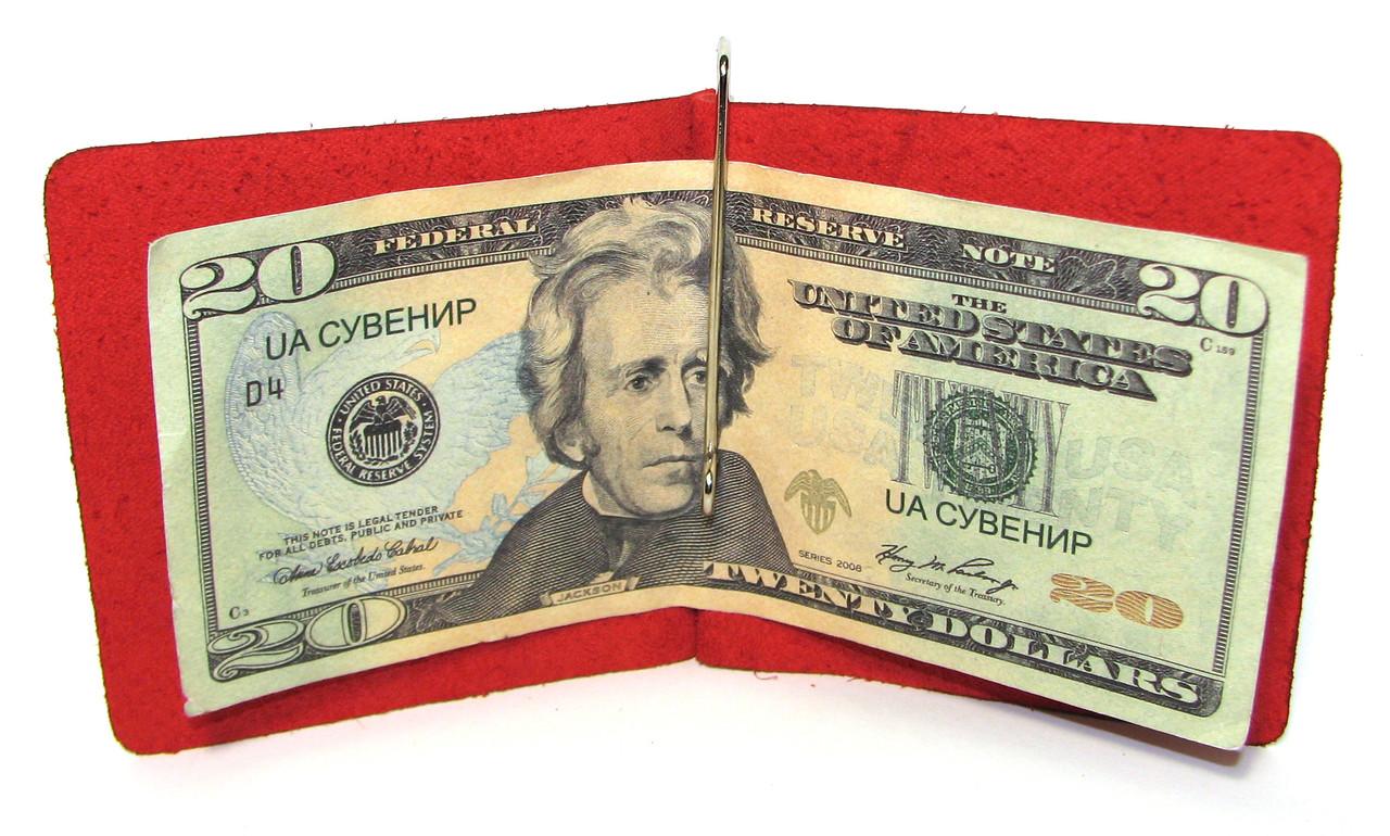 Кожаный кошелек Зажим для денег натуральная кожа Красный